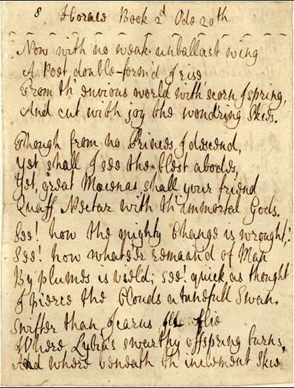 Johnson, manuscript for Horace, Ode ii.20 (Hyde Collection, Harvard University)