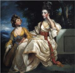 "Hester Thrale and her daughter, also Hester but nicknamed by Johnson ""Queeney."" Painted in about 1778 by Sir Joshua Reynolds. (Now at the Beaverbrook Art Gallery, New Brunswick; Wikimedia Commons)"