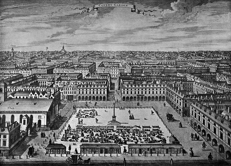 Covent Garden, depicted around 1720. This was the entertainment district of London, with theaters, restaurants, coffee shops. But also brothels and gambling dens. It is no surprise that Horner would live in this neighborhood.