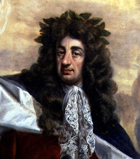 [King Charles II wearing a crown of laurel leaves, designed to signify his interest in literature. Painted by Antonio Verrio in 1684. (Wikimedia Commons)