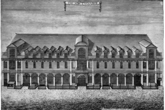 The New Exchange, on the Strand in London, was a covered shopping arcade, with stores selling fashionable clothing.
