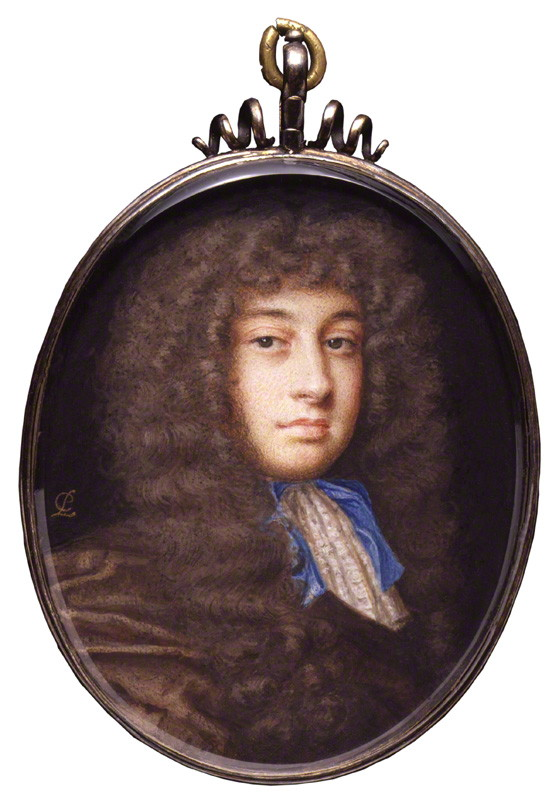 William Wycherley, by Peter Cross, watercolour on vellum, circa 1675. National Portrait Gallery.