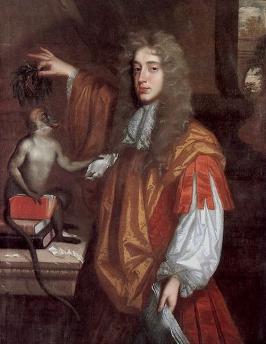 "John Wilmot, the Earl of Rochester, probably painted by Jacob Huysmans, around 1675. (Wikimedia Commons). It's not clear exactly what the message of the picture is supposed to be. Rochester is depicted crowning a monkey with laurel leaves. We could take this to be a mockery of literary accomplishment, or it might more specifically be a satire on John Dryden, then the poet laureate. The painting may also be referring to Rochester's poem ""Satyr,"" where he claims that he would rather be a monkey or other animal rather than be a creature like a human that claims to be rational. Whatever the precise meaning here, it does seem clear that the artist, probably collaborating with Rochester himself, is making a complex joke about mimicry, authorship, and what it means to be a poet."