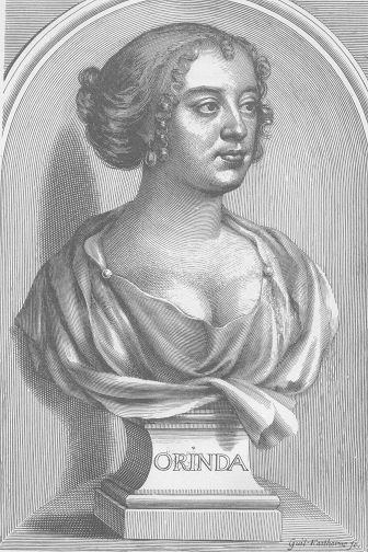 """Philips as """"Orinda,"""" from the frontispiece to her posthumously-published 1667 collection."""