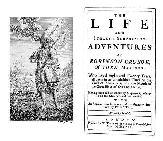 The frontispiece and title page of the first edition. The title page may have been set before the text was finished; the promise that it will include an account of how Crusoe was captured by pirates is never fulfilled