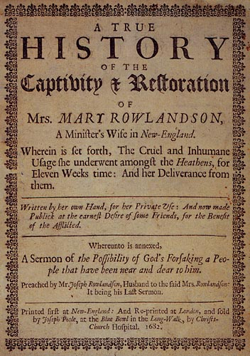 Title page of the first London edition of Mary Rowlandson's narrative. [Wikimedia Commons]