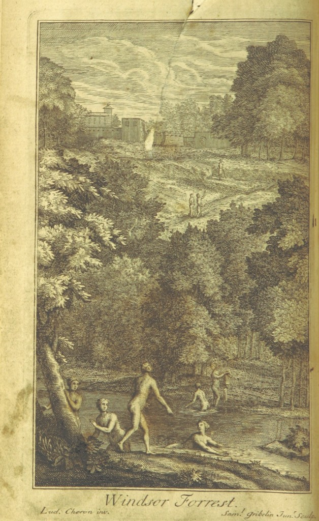 An engraving of Windsor Forest, published as the frontispiece to the 1720 edition of the poem. Pope often exercised a lot of control over the publication of his books, and he probably had input into the design of this picture.