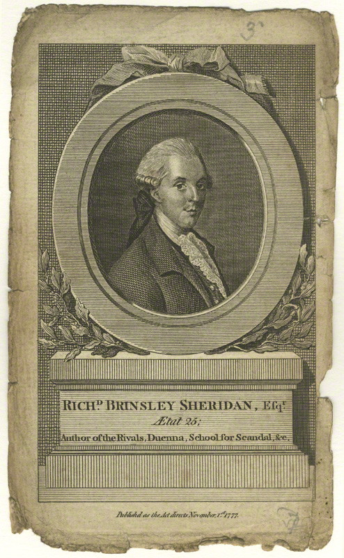 Richard Sheridan, drawn by an unknown artist, line engraving, published 1 November 1777, the year of The School for Scandal.