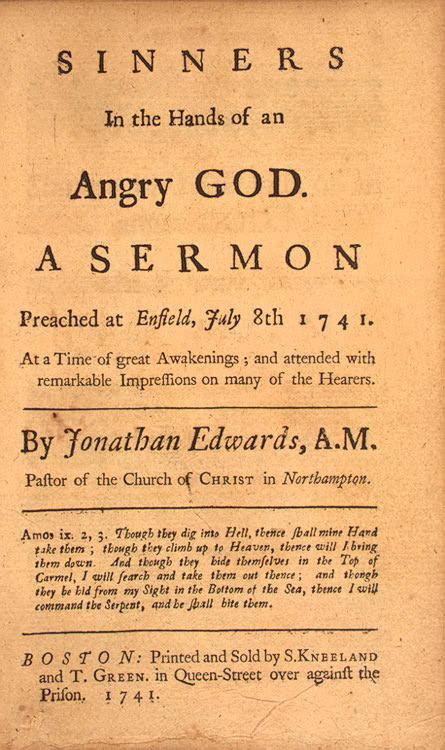 Sinners in the Hands of an Angry God, title page from the first edition  (Wikimedia Commons