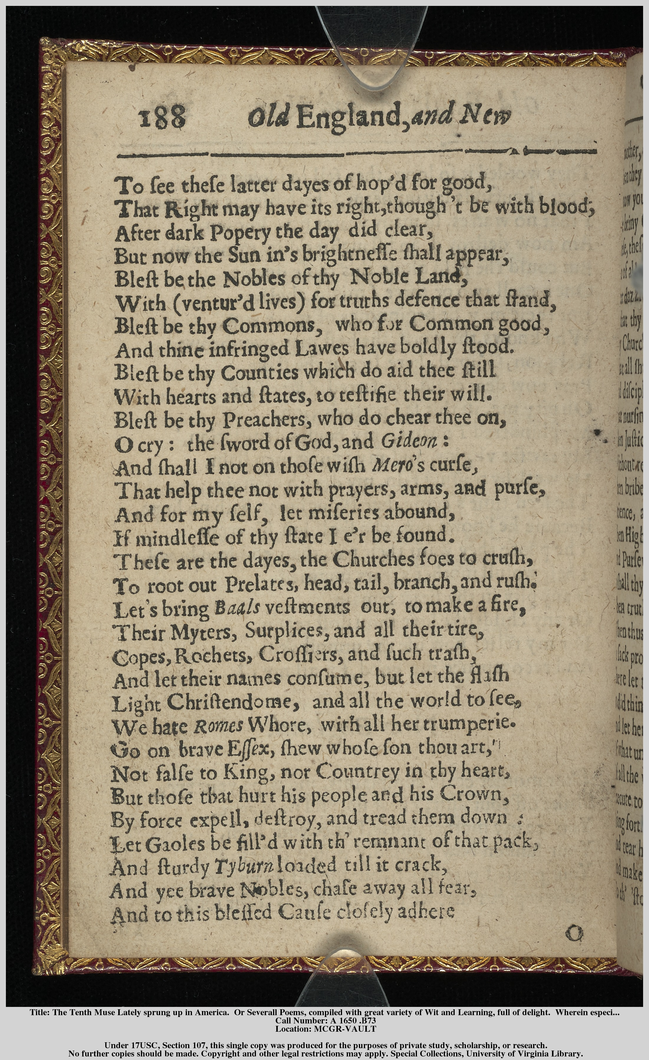 "Anne Bradstreet, ""A Dialogue between Old England and New"
