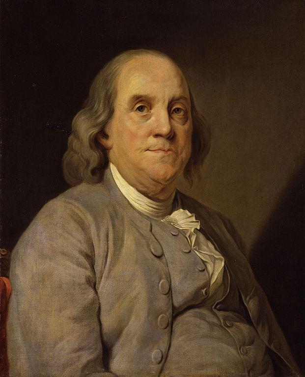 Benjamin Franklin, about 1778. Portrait by Joseph Du Plessis (National Portrait Gallery, London)
