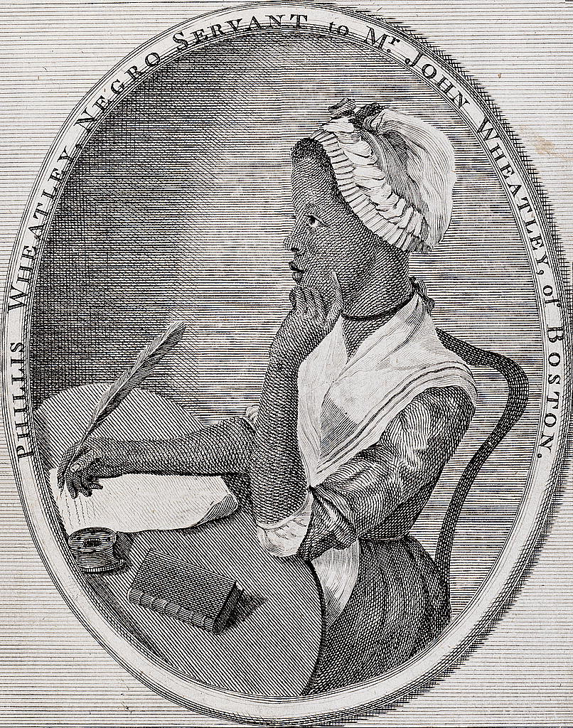 The frontispiece from Phillis Wheatley's Poems on Several Occasions (1773). This is the only portrait of Wheatley from her own lifetime.