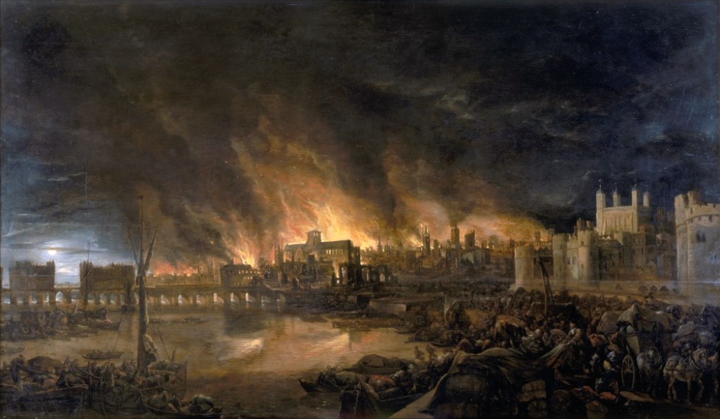 This painting of the Great Fire was done by an anonymous painter, probably within months or a couple of years after the event. To the right is the Tower of London; St. Paul's Cathedral, which burned to the ground, is just to the left of center.