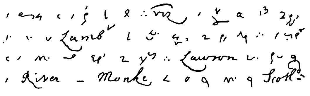 A small section of Pepys's diary, as written in shorthand. You can see that some proper names are spelled out fully, but otherwise, Pepys is using one of the shorthand systems of the period that he would have learned as part of his training for the civil service.