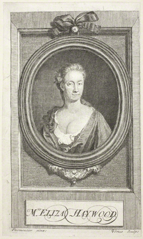This engraving of Eliza Haywood, probably done from a painting that is now lost, is the only confirmed image of her from her own lifetime. It was done around 1720, at the start of Haywood's career as a writer.