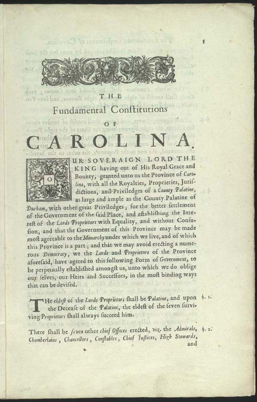 From the first printing of the Fundamental Constitutions, March 1669. (Library of Congress)